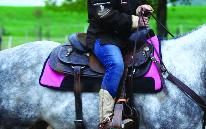 Westernpad cutting pink auf Pferd